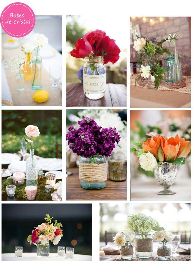 Decora las mesas de tu boda con botes de cristal