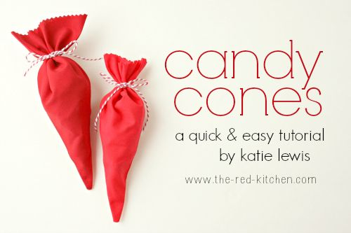 Candy Cones Tutorial by Katie Lewis from The Red Kitchen.  These could be made in any color for any occasion.