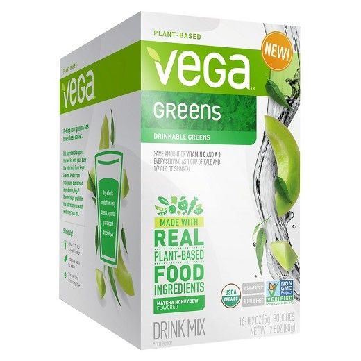 • Only 15 calories per pouch<br>• As much Vitamin C and A in every serving as 1 cup of kale and ½ cup of spinach<br>• Made from leafy greens, sprouts, grasses and green algae <br>• No sugar added<br>• 16 pouches per box<br><br>Convenient and clean, Vega Greens Matcha Honeydew Drink Mix is made from real, plant-based ingredients packed with nutritional support you can take wherever your busy life takes yo...