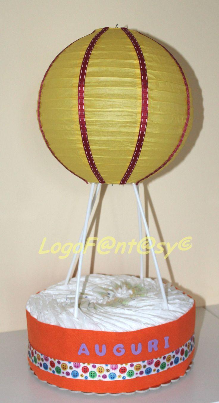 mongolfiera di pannolini, idea regalo nascita, giallo - arancione - rosso. Hot air balloon diaper - diaper cake - centrotavola -