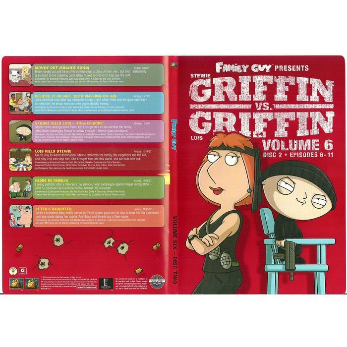 """Paper Label Artwork from DVD Case """"Family Guy Griffin VS Griffin Volume 6 Disc 2 Listing in the Other,DVD,Movies & DVD Category on eBid Canada 