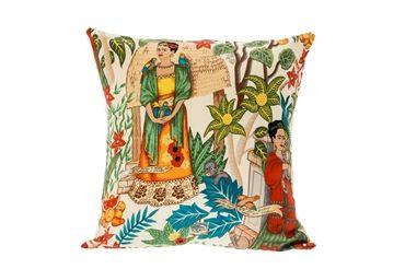 Frida Kahlo in the gardens - cushion (cream)