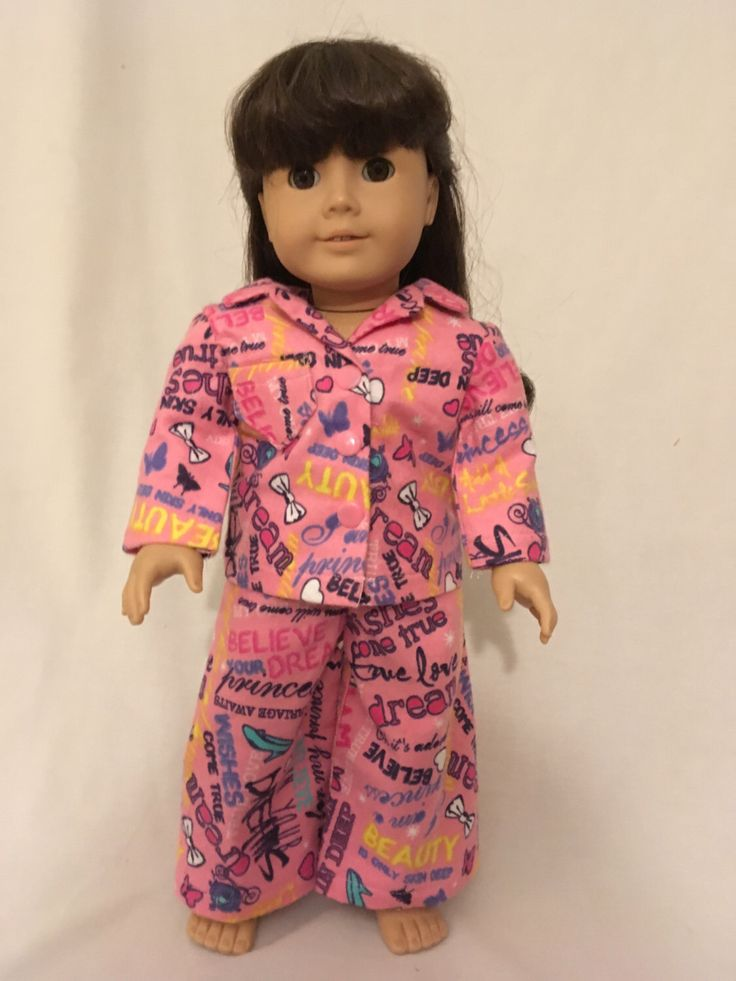 Pink flannel pajamas for 18 inch doll by Sew4Dolly on Etsy https://www.etsy.com/listing/476779856/pink-flannel-pajamas-for-18-inch-doll