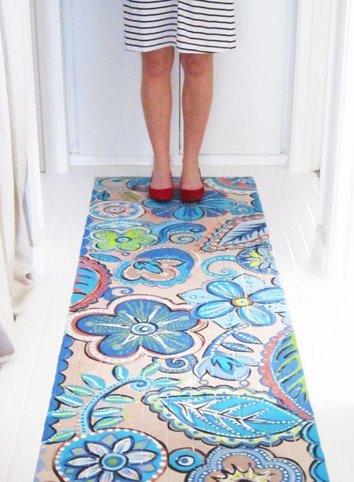 Faux rug....Painted Wood, Alisa Burke, Painting A Rugs, Painting Rugs, Painting Wood Floors, Painting Floors, Canvas, Painted Floors, Floors Rugs