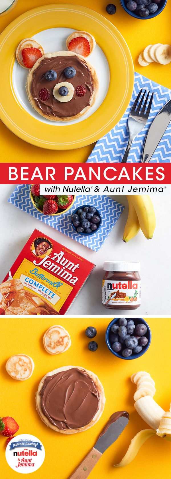 10 best pancake pairings with aunt jemima images on pinterest nix the stuffed bear this valentines day and serve this delicious one instead its super simple to make youll just need aunt jemima pancake batter ccuart Images