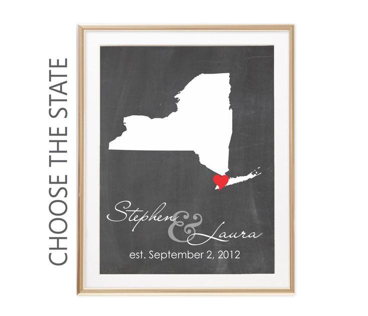 New York Map, New York Wedding Gift For Bride, Chalkboard Map, Bridal Shower Gift For Fiance Birthday, Custom Anniversary Gift For Women by twowhiteowls on Etsy https://www.etsy.com/listing/477552924/new-york-map-new-york-wedding-gift-for