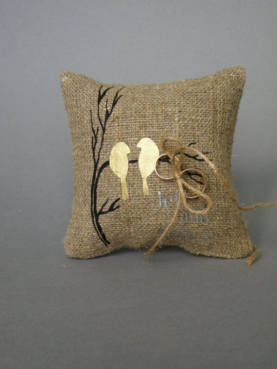 Wedding rustic natural linen Ring Bearer Pillow Gold by pastinshs, $25.00