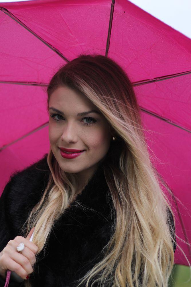 Bright pink Umbrella & bright pink lips on a rainy day!