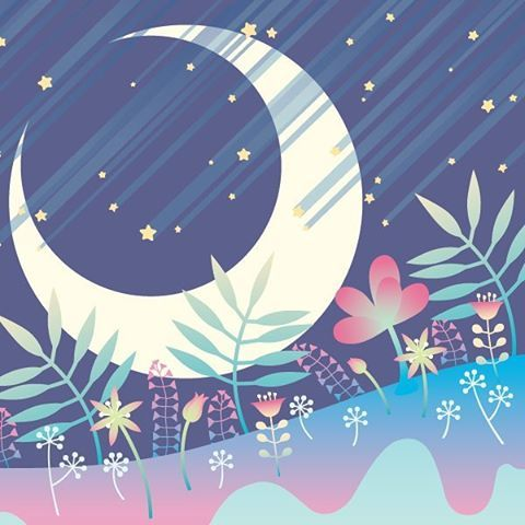 "김상철 on Instagram: ""#floralmong #moon #shooting_star #tree #flower #night #luna #illust #design #artwork #forest #꽃몽우리 #달 #별똥별 #꽃 #나무 #숲 #밤하늘 #일러스트 #디자인 #아트웍"""