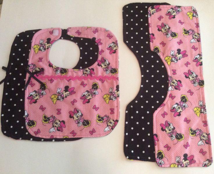 Minnie Mouse Bib and Burp Cloth set by RoyaleRose on Etsy