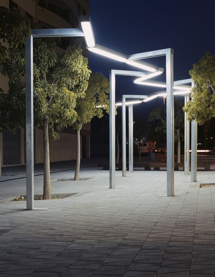 Vía láctea is a multifunctional street light with simple geometric lines devised to draw