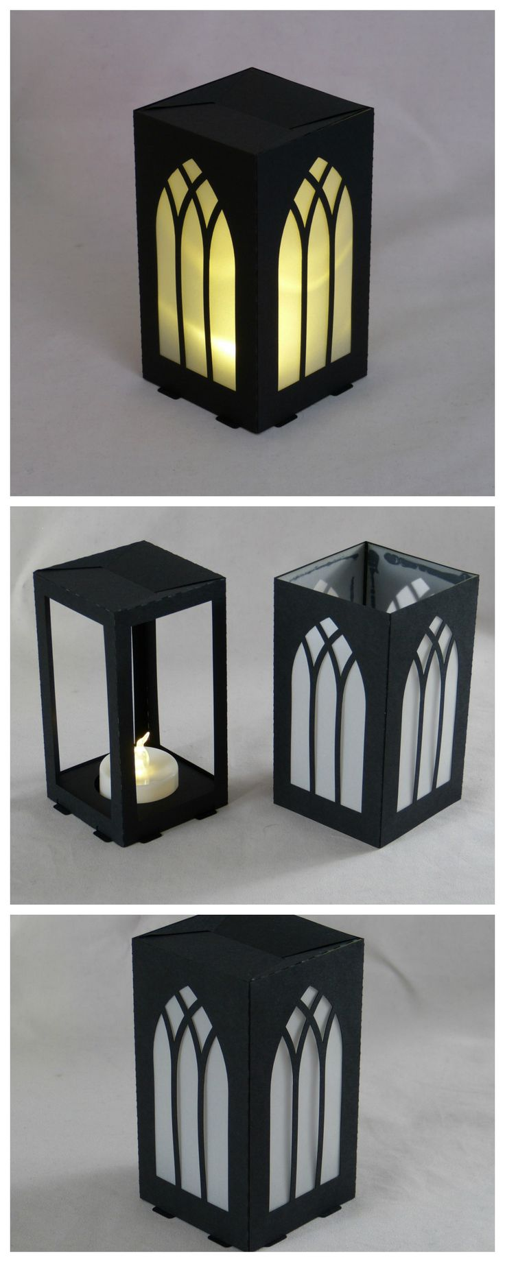 #lasercut paper lantern, 6x6x11cm, LED tea light.