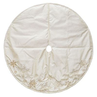 Holiday Living 48-in Gold Polyester Snowflake Christmas Tree Skirt