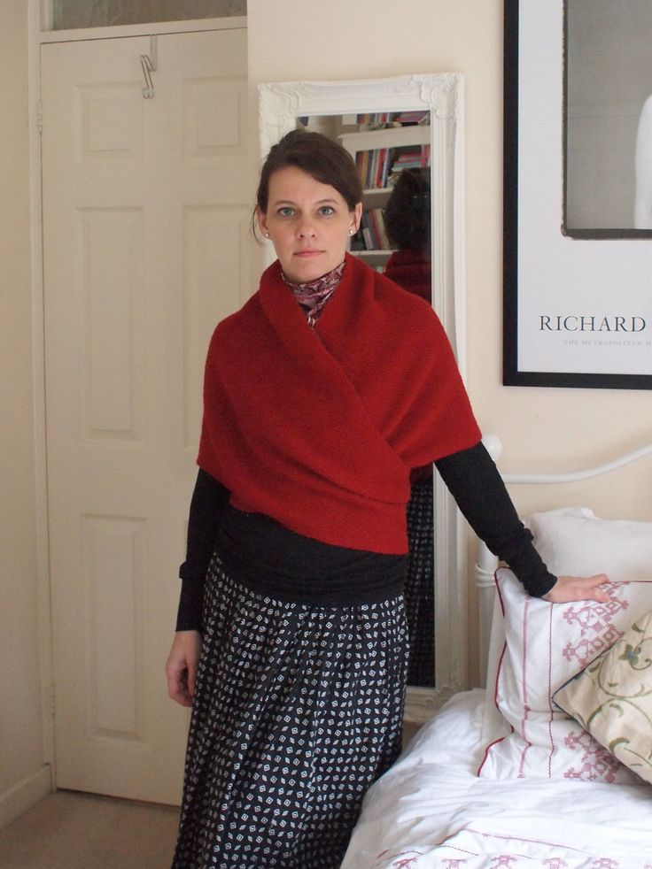 I like a shawl that wraps around for tucking or tying in back. Lucinda Guy's Shawl pattern made by EricaBH on Ravelry