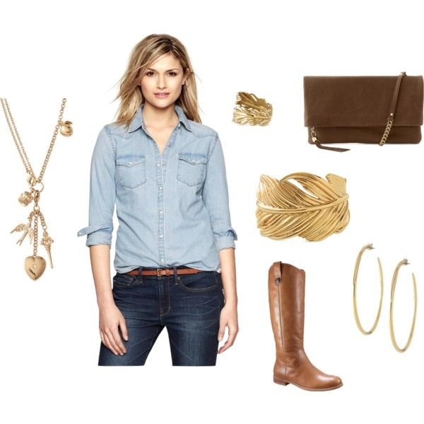 Casual Denim Day by empoweredelaine on Polyvore Secret Garden Cuff - 50% Off, Rhea Earrings,  Luxurious Lambskin lBag