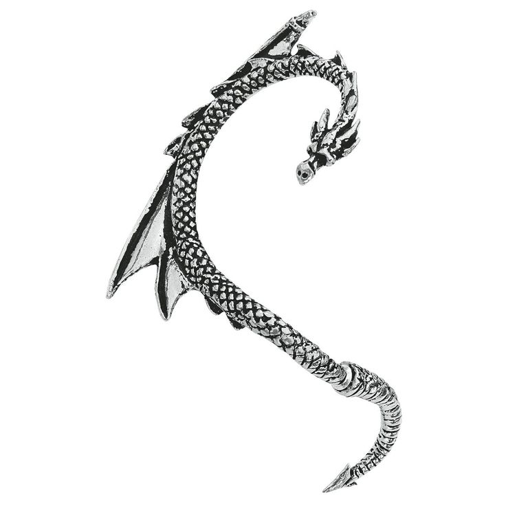 This Alchemy Gothic earpin made of pewter in dragon design is a real eye-catcher. The dragon earpin is 6.5 cm long and 2 cm broad. The bottom part can be detached and worn in the earlobe piercing,...