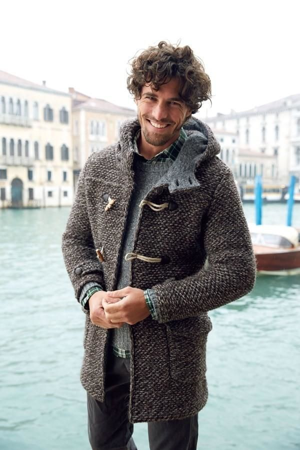Fall / Winter - casual style - street style - light grey chunky knit sweater + green plaid shirt + grey heathered chunky knit toggle button hooded coat + dark grey pants