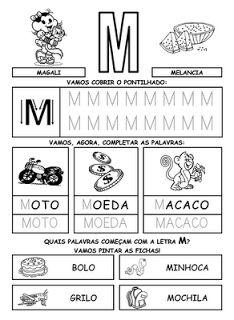 ALFABETIZAÇÃO : Sugestão de Atividades com a letra M