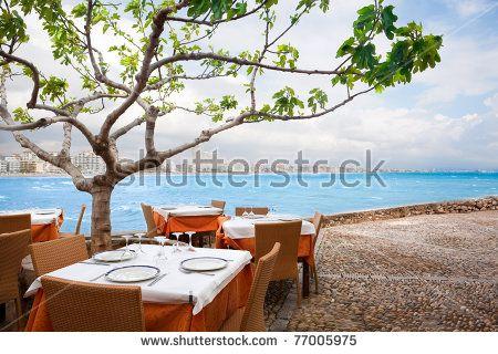Restaurant near the sea at Peñiscola(Spain).Holidays at sea