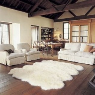 A Whole Bunch Of Rens Sewn Together To Make A Large White Fur Rug. Living  Room ...