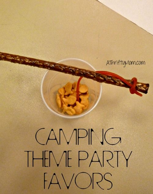 camping theme party favors, #partyfavors, #campingparty, #partyfavors, #fishing, #goldfish, #licorice, #pretzels, #thriftypartyfavors, #thriftypartyideas