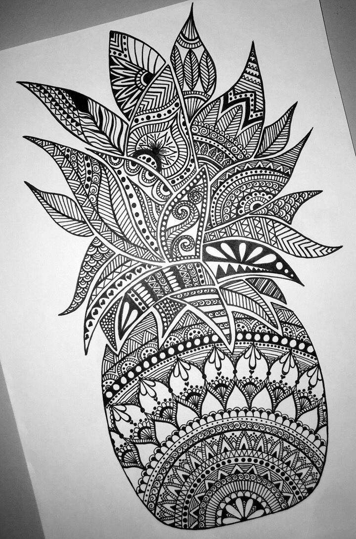 beautiful detailed pineapple mandala design perfect for a tattoo - Drawing Design Ideas
