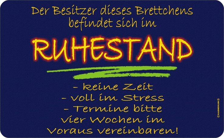 BESITZER IM RUHESTAND FRÜHSTÜCKS BRETTCHEN FUN RB7219: Amazon.de: Küche & Haushalt