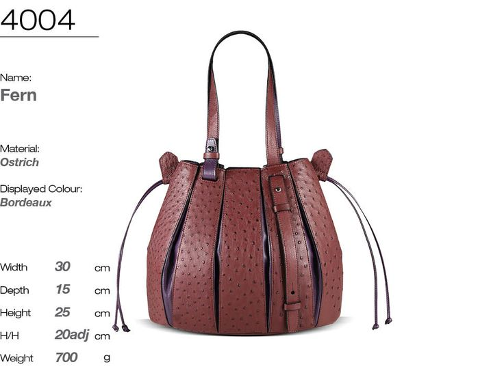 FERN handbag in genuine South African ostrich leather