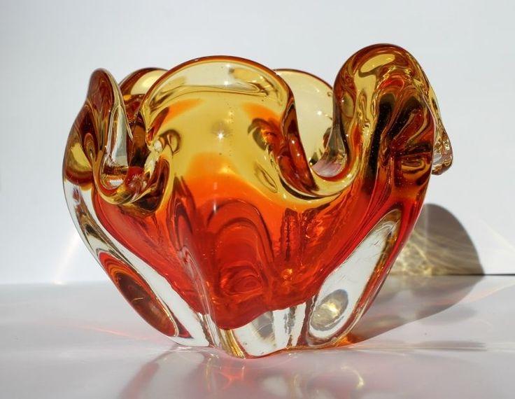 Gorgeous Retro Murano Honey Yellow & Orange Bowl Free Flowing Form