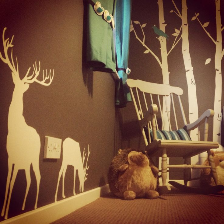 Deer stickers added to the nursery!! I love this! Country and sweet and so not redneck!