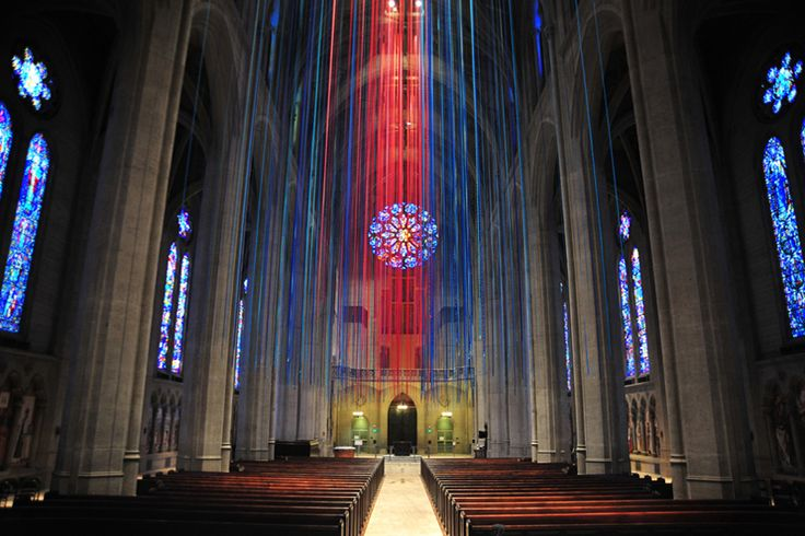 Graced With Light - The Ribbon Project was Anne Patterson's installation in Grace Cathedral, San Francisco