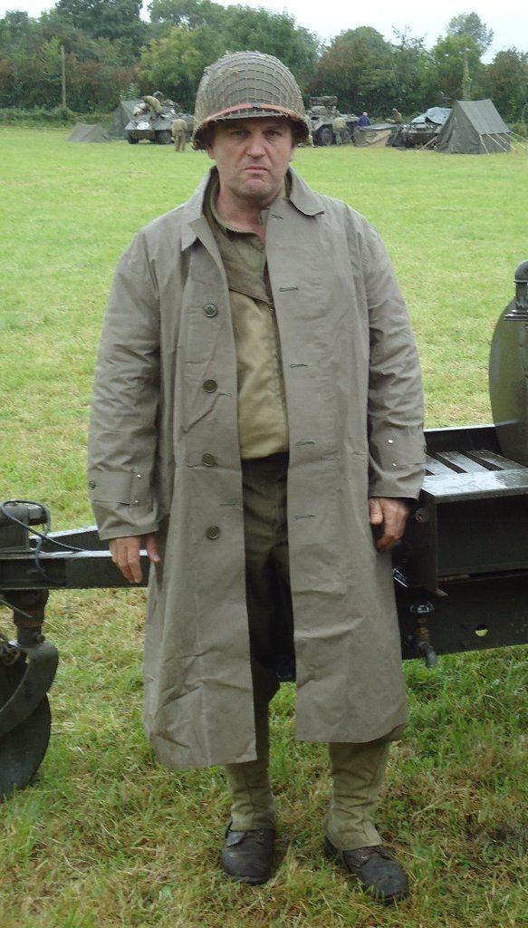 Raincoat, Synthetic Resin Coated, OD, Dismounted