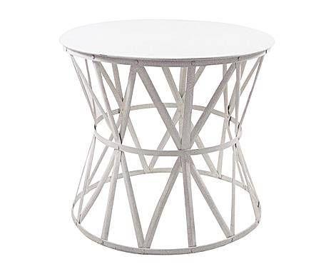TOP DESIGN: tavolino da caffe' in ferro bianco - d 68/h 62 cm