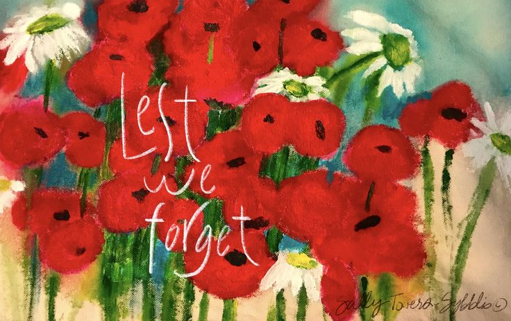 Lest WeForget painting by Sally Towers-Sybblis. Acrylic on canvas.