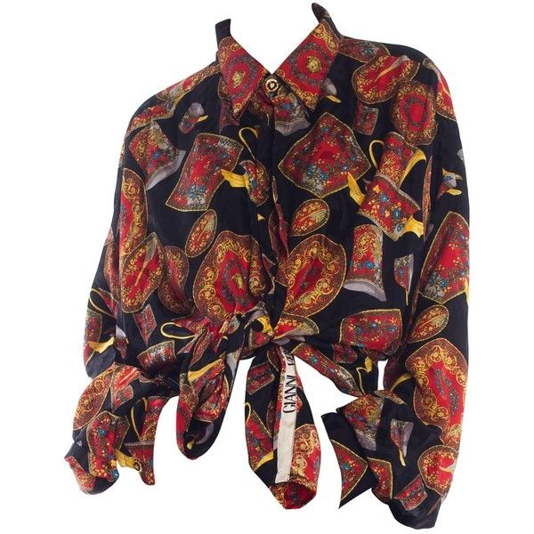 1990s Gianni Versace Rosenthal Medusa China Pattern Silk Shirt (€1.498) ❤ liked on Polyvore featuring tops, shirts, shirt top, silk top, silk shirt and pure silk shirt