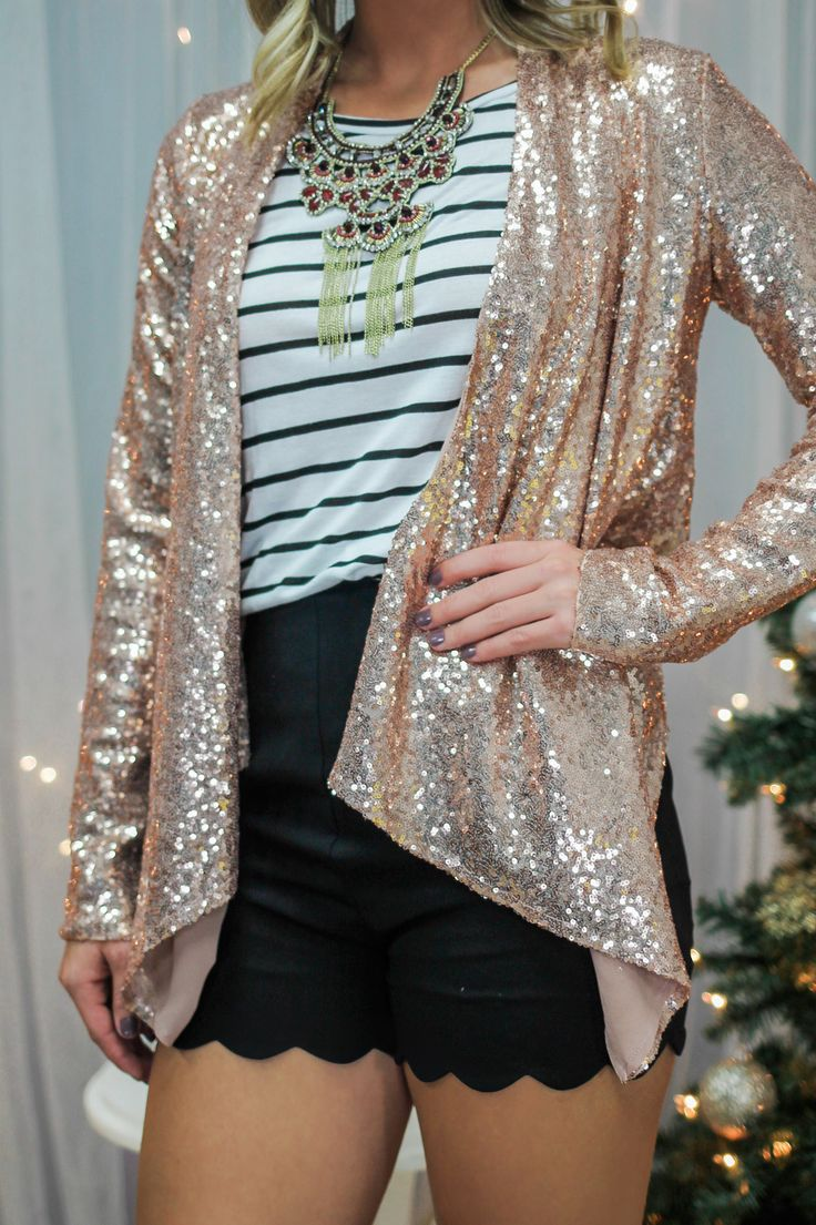 Rose Gold Sequin Open Front Blazer
