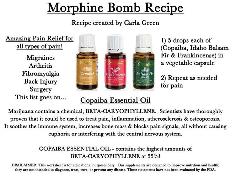 Morphine Bomb: Copaiba, Frankincense & Idaho Balsam Fir https://www.youngliving.org/pattimarcotte