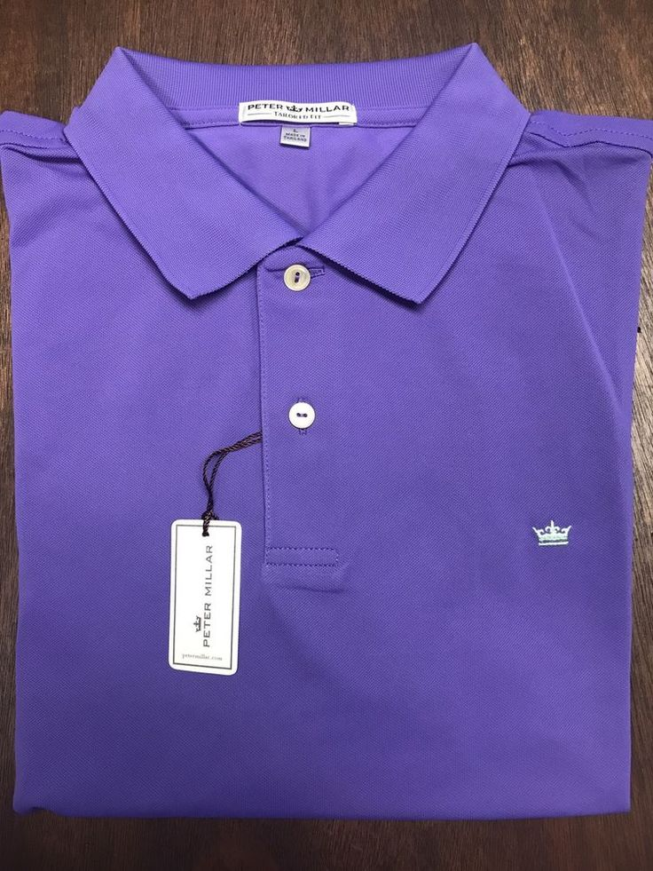 Peter Millar Purple Crown Sycamore Hills Logo Golf Tailored Fit Polo Shirt SZ L  | eBay