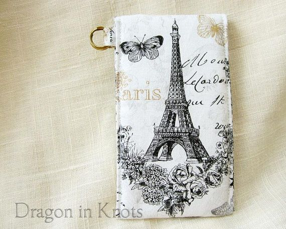 Eiffel Tower Lip Gloss Holder – Tall or Short Paris France Insulated Keychain Snap Pouch, Cotton Lip Balm Case, French Romantic Card Wallet