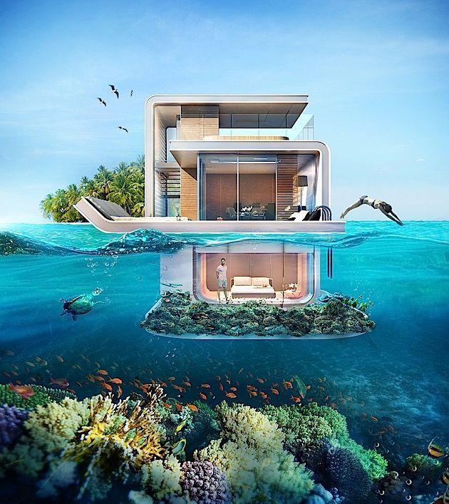Eine schwimmende Villa, aus der man die Unterwasse…
