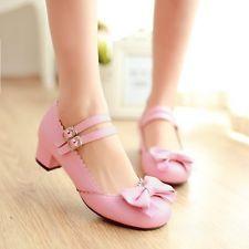 Womens Lolita Sweet Cinta Com Fivela Cores salto baixo bombas Bowknot Sapatos Tamanho Plus