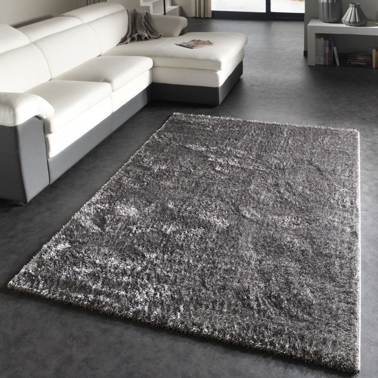 Tapis shaggy m ches douces aspect brillant poils longs gris dimension 120x17 - Tapis shaggy gris but ...