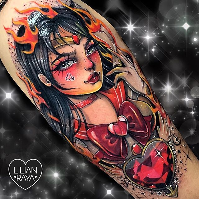 Protected By Mars The Planet Of Fire Guardian Of War Sailor Mars In The Name Of Mars I Ll Chastise You Anime Tattoos Sailor Moon Tattoo Sailor Mars