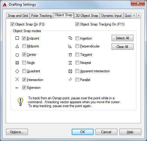 Drafting settings ( object snap )