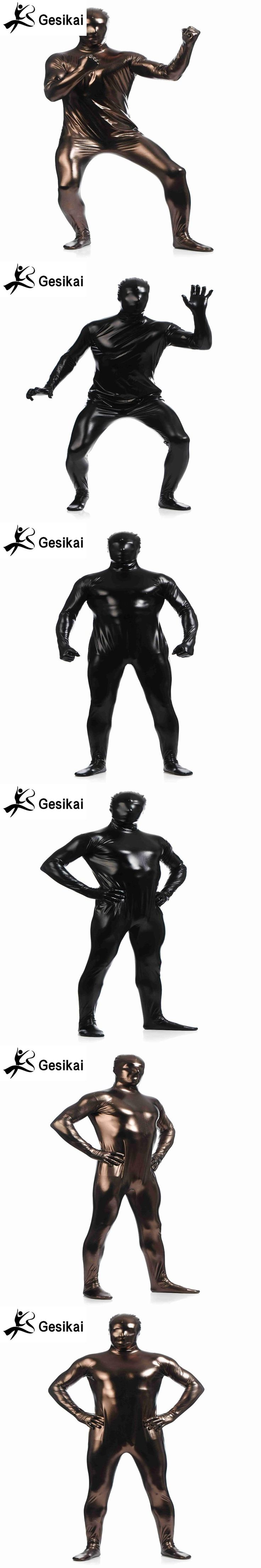 2 Colour Shiny Metallic Unitard Zentai Suit All  Full Body Suit Tights Adult Unisex Catsuit Fancy  Halloween Party Costumes