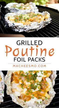 "Grilled Poutine Foil Packs: Enjoy the nice grilling weather and make delicious french fries. I like mine done ""poutine"" style, dotted with cheese and smothered in a gravy sauce. So good!"
