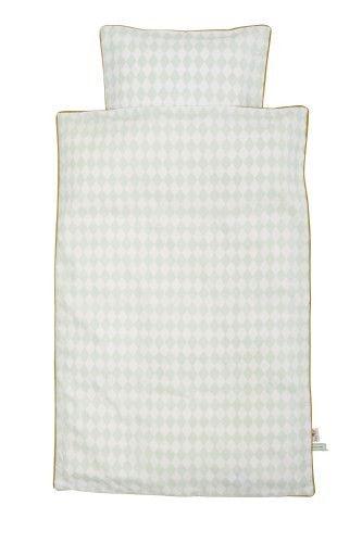ferm LIVING KIDS - Harlequin sengetøj i mint.