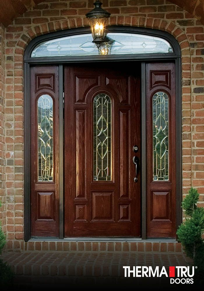 Therma-Tru Classic-Craft Oak Collection fiberglass door with Arcadia decorative glass.