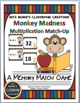 Multiplication practice, multiplication fun, Multiplication engagement! Multiplication Memory Game, Multiplication Flash Cards (with bam cards), Multiplication Array Matchup Game ~ are included in this packet. Multiplication Practice Sheets, Multiplication Center Recording Sheets, and a Multiplication Chart are also included.Monkey Madness Multiplication Packet by Nita Marie's Classroom Creations.