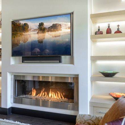 Fireplace With Open Lighted Shelves Either Side Modore